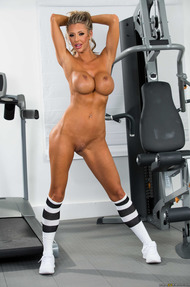 Full Plastic MILF Courtney Taylor Strips In The Gym - 04