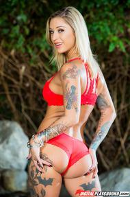 Amazing Tattooed Pornstar Kleio Valentien Strips Nude - 02