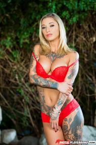 Amazing Tattooed Pornstar Kleio Valentien Strips Nude - 05