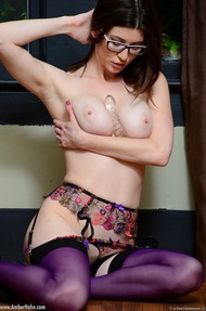 Amber Hahn In Sexy Purple Lingerie - 04