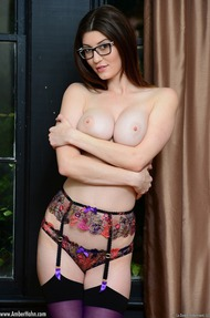 Amber Hahn In Sexy Purple Lingerie - 14