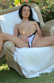 Hot Sapphira Fingering Her Pussy In The Garden - 07