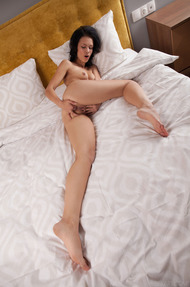 Italian sweetheart Laina waits on her bed in tight fitting panties and bra - 11
